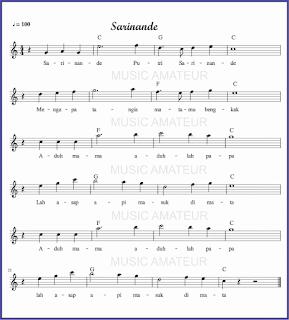 gambar  lagu sarinande akor biasa