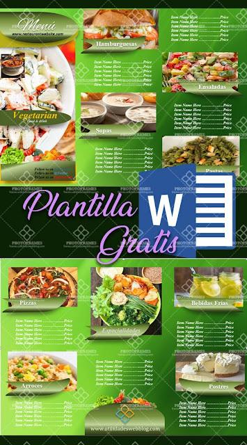 Diseño de menú para restaurantes vegetarianos / veganos editable en Word
