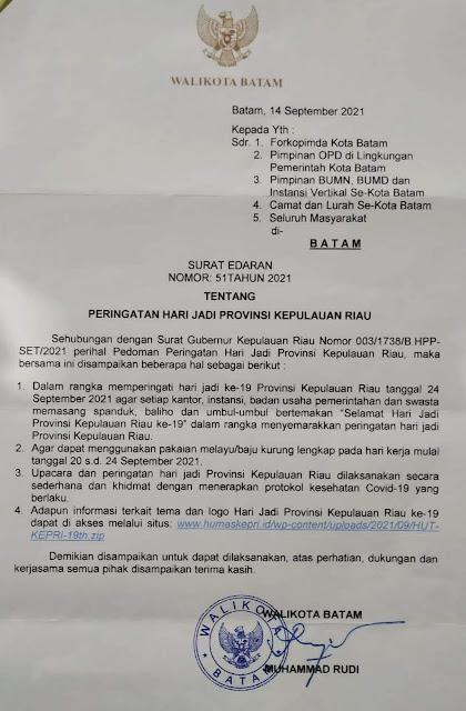 Meriahkan HUT ke-19 Kepri, Rudi Intruksikan Pegawai Batam Wajib Gunakan Baju Melayu