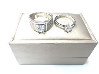 Ring Cincin Couple Titanium Plated Silver Kombinasi Zircon TTN001