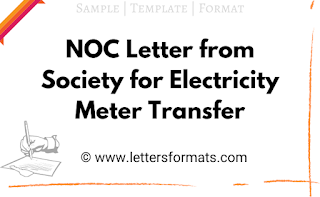 noc format from society for electricity meter transfer