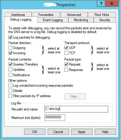 Enable DNS debugging on Windows Server