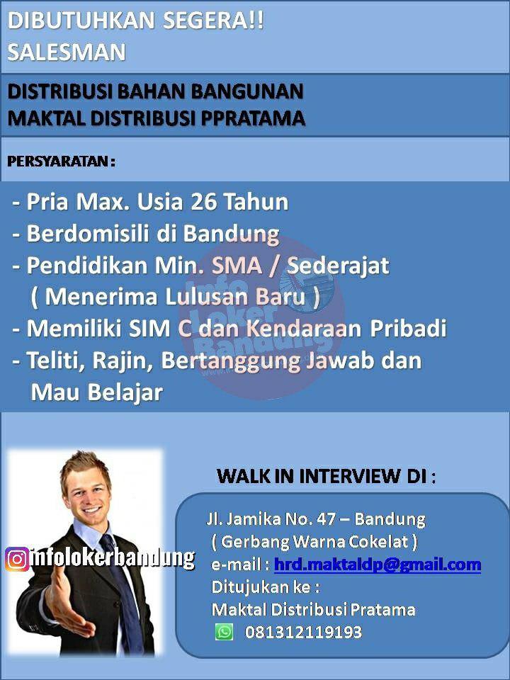 Lowongan Kerja PT. Maktal Distribusi Pratama Bandung September 2019