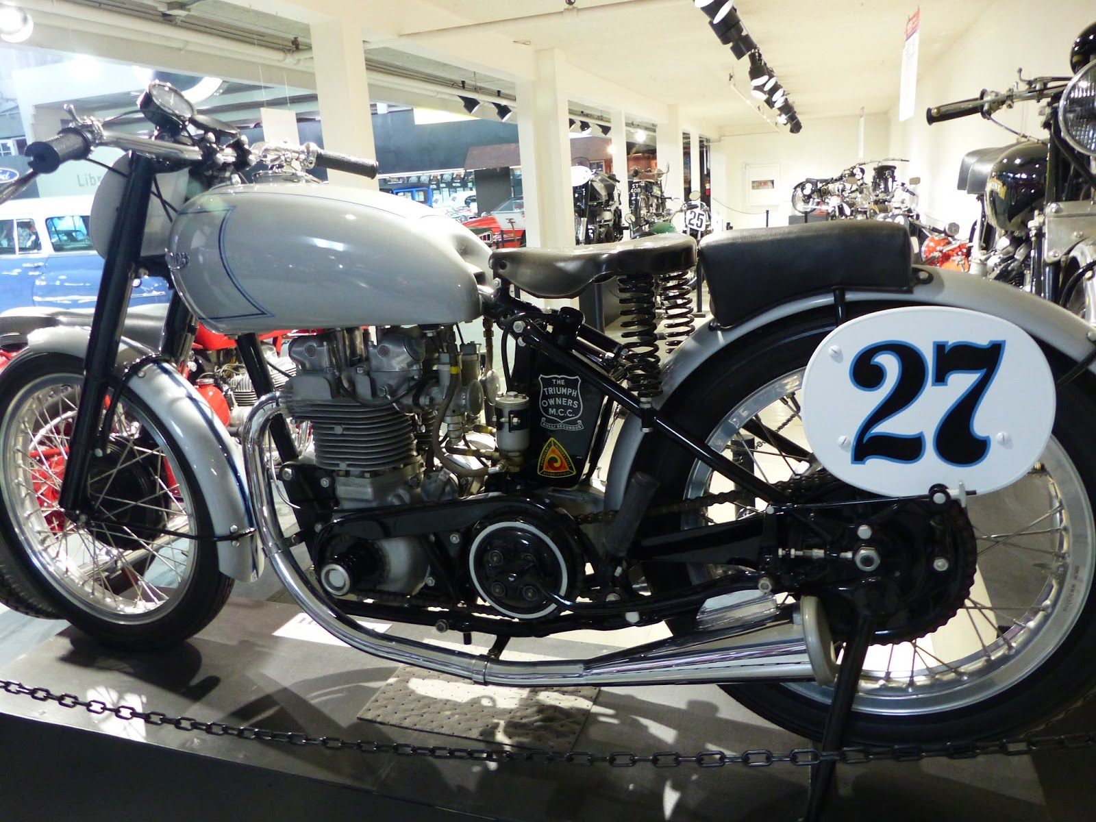 OldMotoDude 1948 Triumph T 100 Grand Prix on display at the San