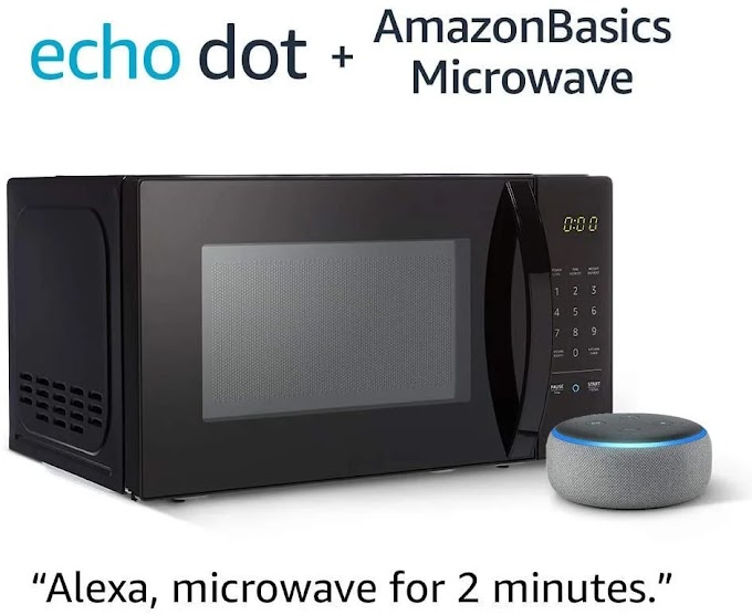 AmazonBasics Microwave bundle with Echo Dot (3rd Gen) - Heather Gray
