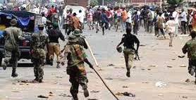 Soldiers pursuing people in Cross River