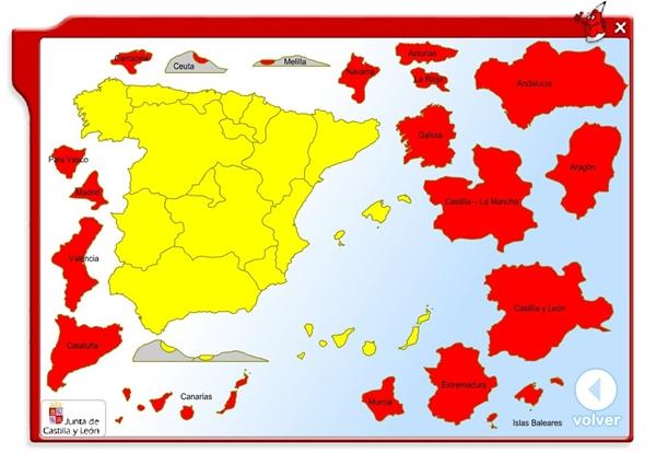 """""""Coloca las Comunidades Autónomas"""" (Ciencias Sociales de Primaria)"""