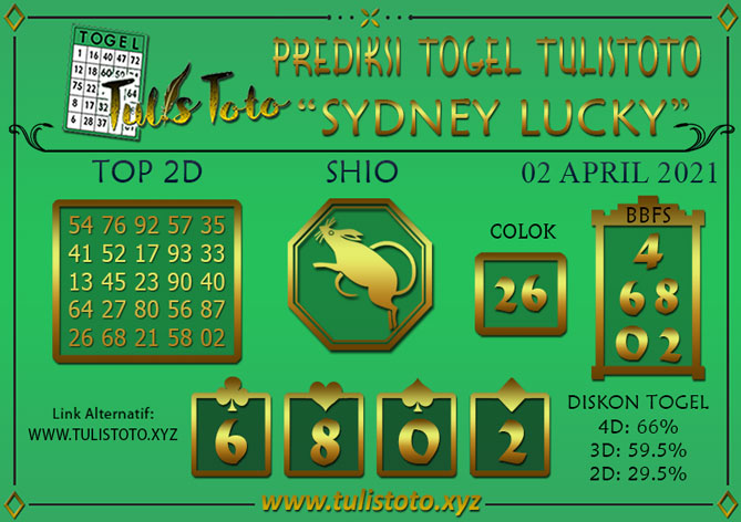 Prediksi Togel SYDNEY LUCKY TODAY TULISTOTO 02 APRIL 2021
