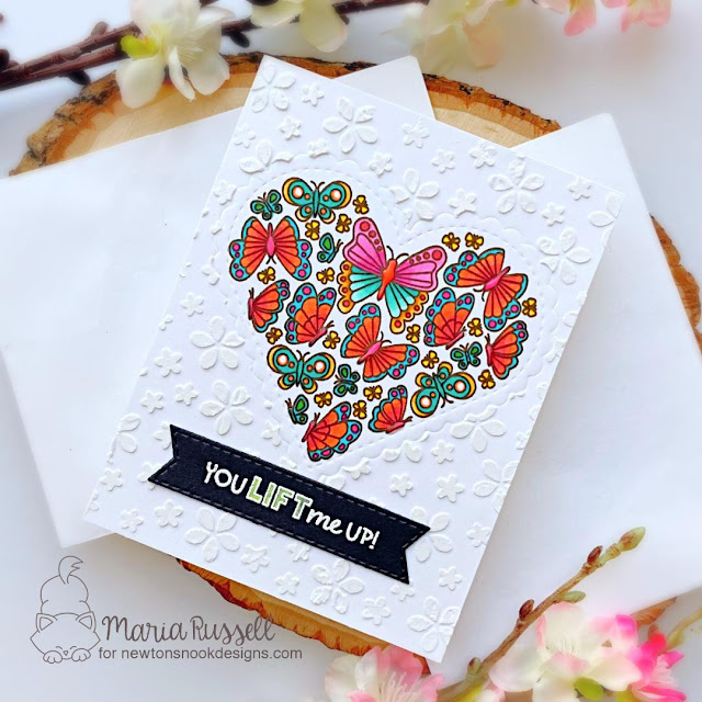 You Lift Me Up Card by Maria Russell | Heartfelt Butterflies Stamp Set, Banner Trio Die Set and Petite Flowers Stencil by Newton's Nook Designs #newtonsnook