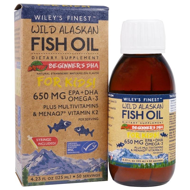 Wiley's Finest, рыбий жир из аляскинской промысловой рыбы, для детей, ДГК для новичков, со вкусом натуральной клубники и арбуза, 650 мг, 125 мл (4,23 жидкой унции)