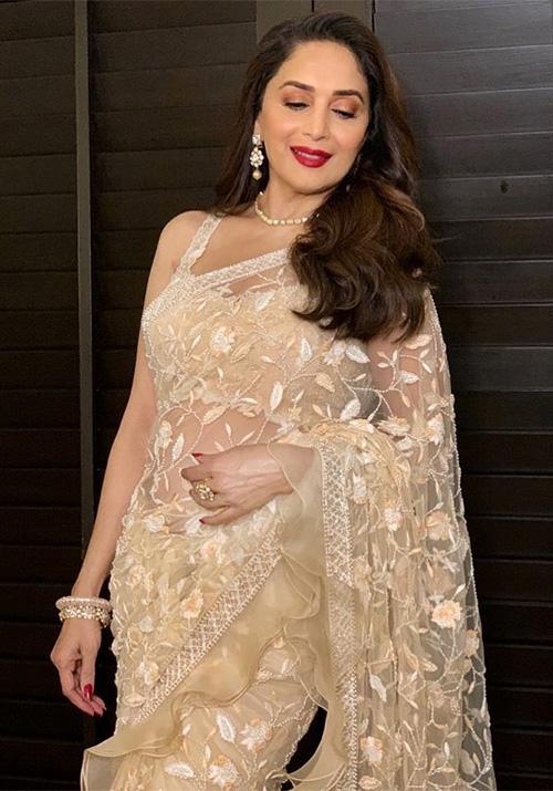 madhuri dixit in see through sheer saree bollywood mature actress