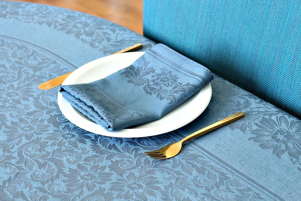 Vintage cream damask table cloth dyed gun metal grey // @danslelakehouse