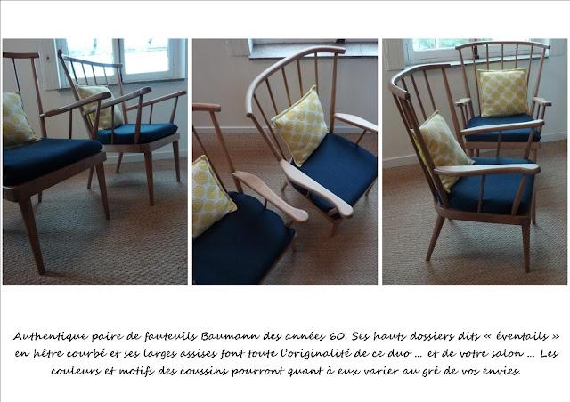 Paire de fauteuils eventail Baumann
