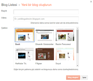 yeni blog oluşturma