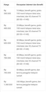 Daftar Harga Paket Internet Indihome Tahun 2020