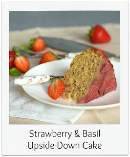 This flavoursome and aromatic strawberry & basil upside-down cake is easy to make.  The colourful pink strawberries, cooked with the cake, negates the need for any frostings.