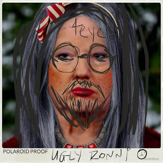 A polaroid photo of Ronni Grump defaced by brother Ronald Grump