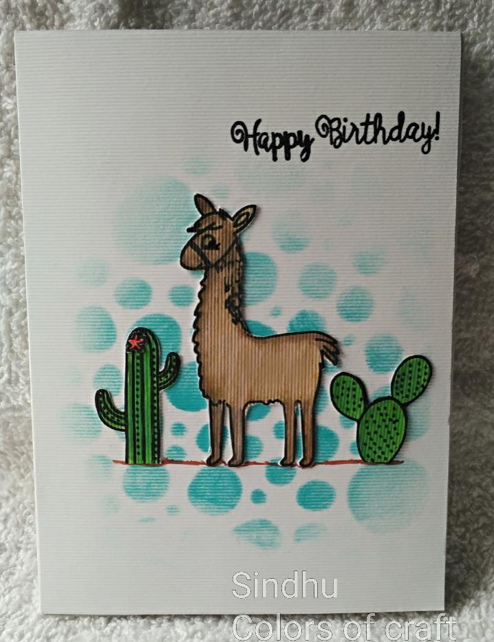 Colors of My Crafty World Llama Birthday card