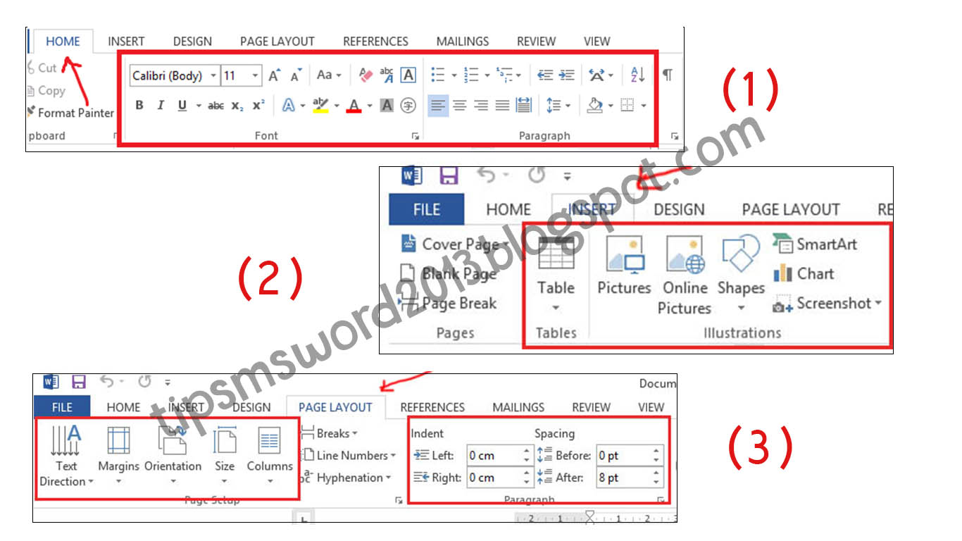 Functions and how to use word ribbon 2013 tutorial microsoft word 2013 as the picture shown above these 3 tabs are the most common features used by ms word users 2013 heres a brief explanation ccuart Choice Image