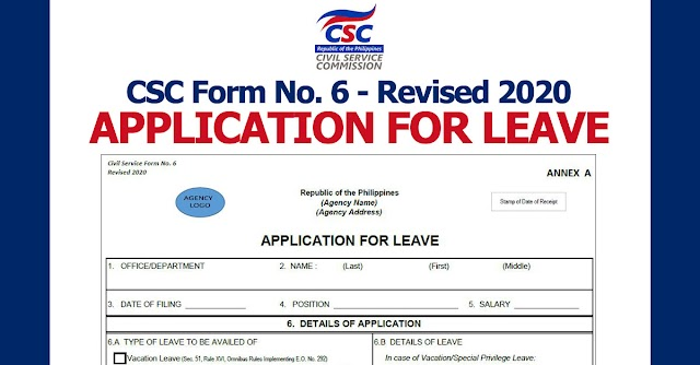 CSC Form No. 6 - Revised 2020 | APPLICATION FOR LEAVE (Form 6 )