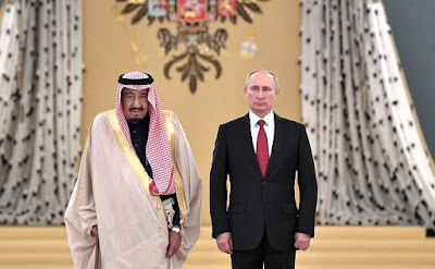 King Salman bin Abdulaziz Al Saud of Saudi Arabia with President of Russia Vladimir Putin in the Kremlin.