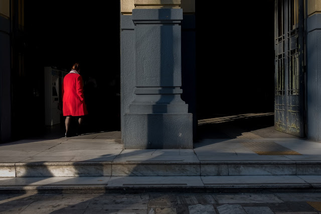 betty manousos passer-by with red dress