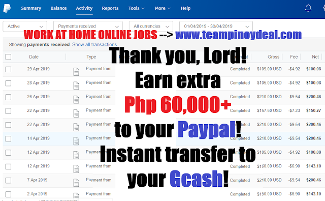 Work at Home Online Jobs Income Proof