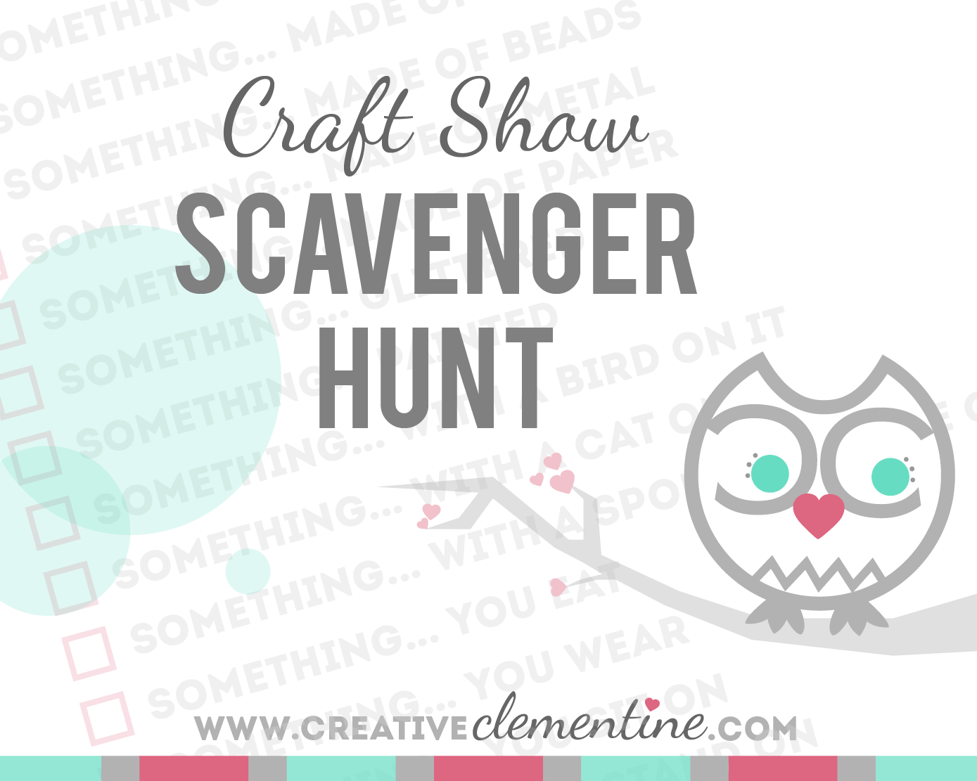 FREE PRINTABLE: Craft Show Scavenger Hunt for kids via creativeclementine.com