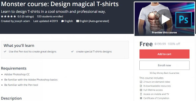 [100% Off] Monster course: Design magical T-shirts| Worth 199,99$