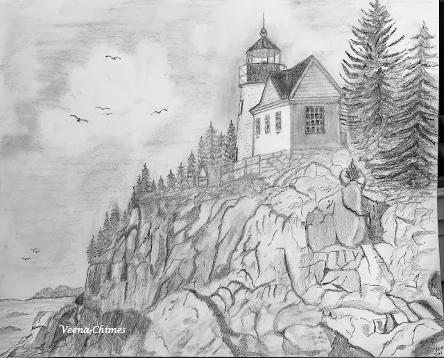 Pencil Drawing- Bass Harbor Lighthouse at Acadia National Park, Maine