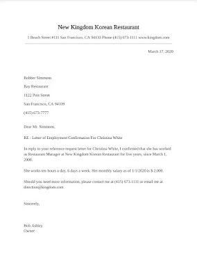 Confirmation Letter samples