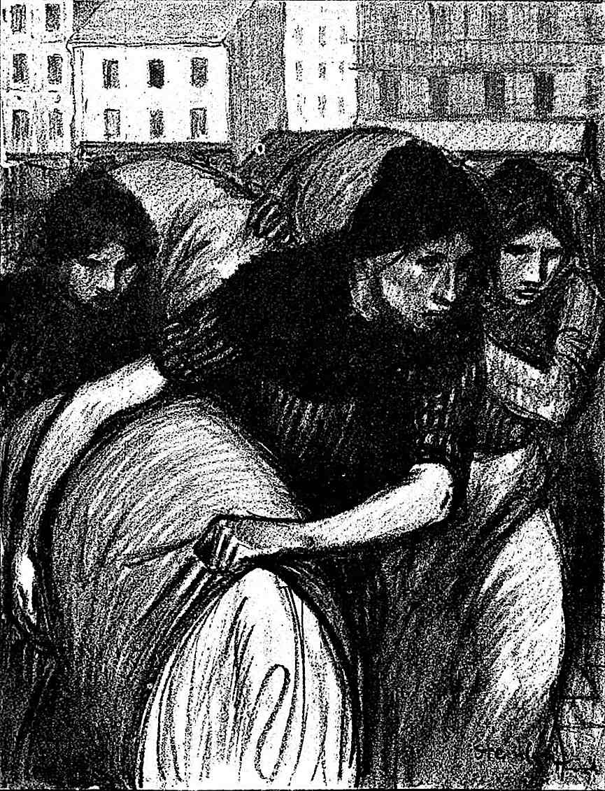 a Theophile-Alexandre Steinlen drawing of women laboring with heavy loads