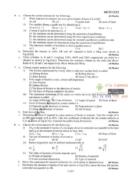 VTU Elements of Civil Engineering and Engineering Mechanics