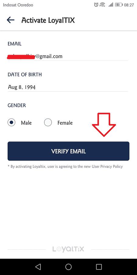 aktivasi loyaltix membutuhkan alamat email aktif, tanggal lahir, dan jenis kelamin pengguna