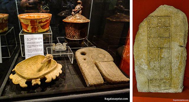 Artefatos maias em museus da Guatemala