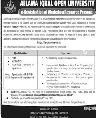 AIOU Jobs 2021 for Workshop Resource Persons