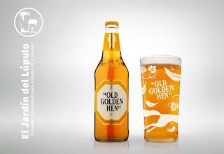 La cerveza inglesa Morland Old Golden Hen en su vaso de pinta
