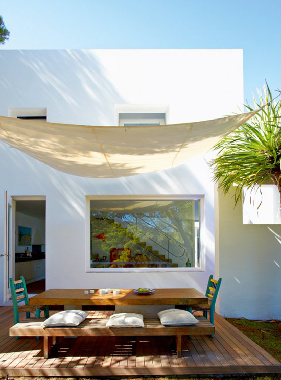 A contemporary summer house in Costa Brava, Spain, via Marie Claire Maison. #terrace #canopy
