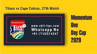 Who will win Today Domestic 27th match TIT vs COB ODI 2020?