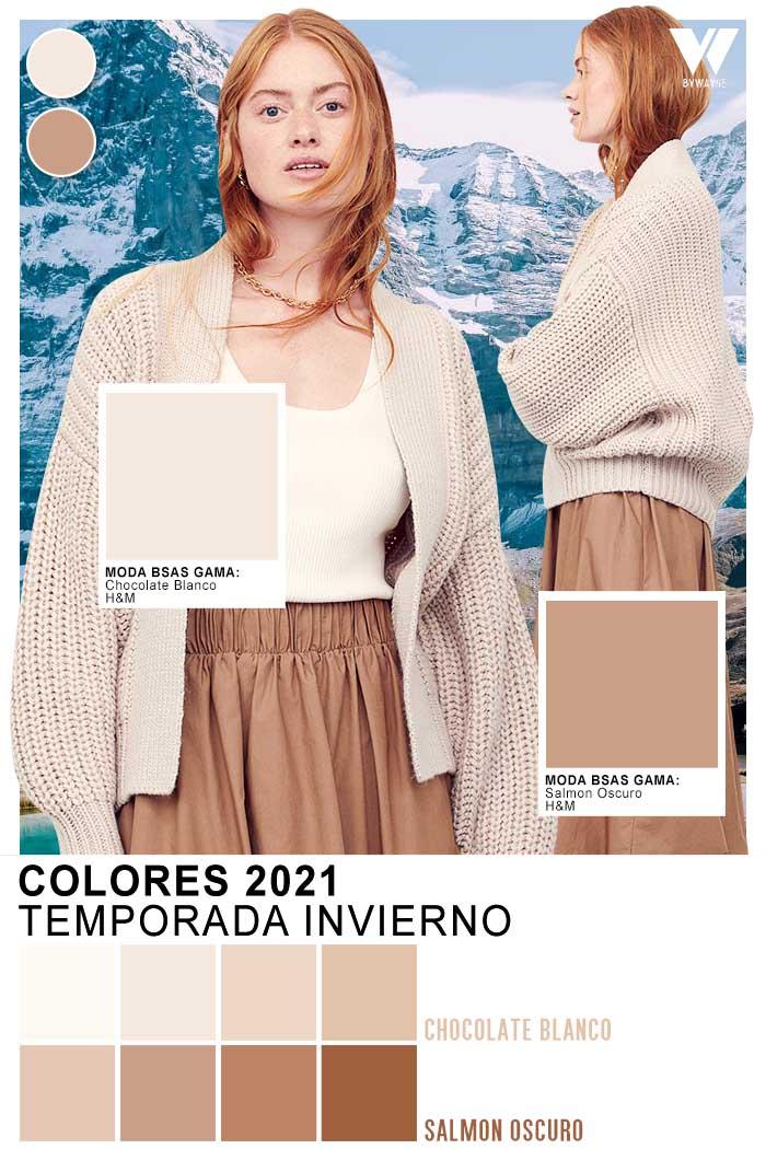 Ropa de mujer de moda otoño invierno 2021 colores de moda salmon y chocolate blanco