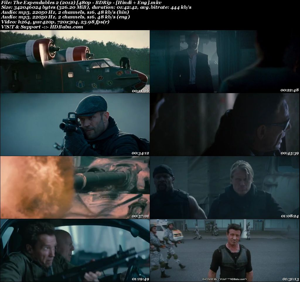 The Expendables 2 (2012) [480p - BDRip - [Hindi + Eng] Screenshot