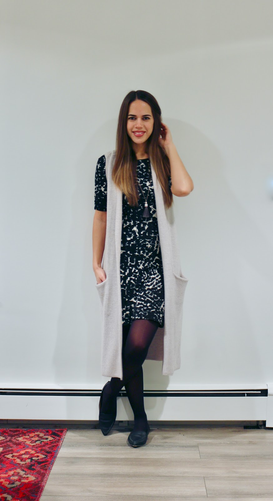 Jules in Flats - Patterned Sheath Dress with Wilfred Olivie Sweater Vest (Business Casual Winter Workwear on a Budget)