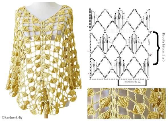 punto cuadrados intercalados, patrones crochet