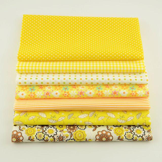 Booksew 100% Cotton Fabric 7PCS Simple and Plain Design Bundle for Sewing Clothes Fat Quarter Patchwork Meter Quilting Textile
