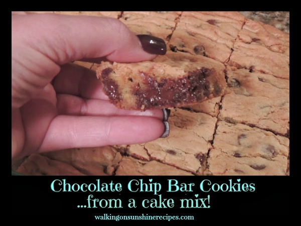 Easy Cake Mix Recipe for Chocolate Chip Bar Cookies from Walking on Sunshine Recipes