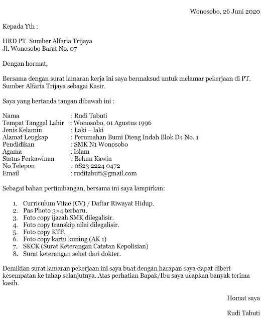 Contoh Surat Lamaran Kerja 2020 (via: yuksinau.id)