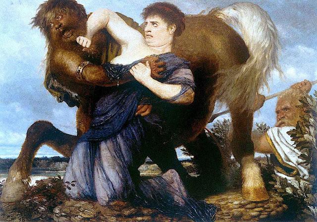 an Arnold Böcklin painting of a centaur taking a woman
