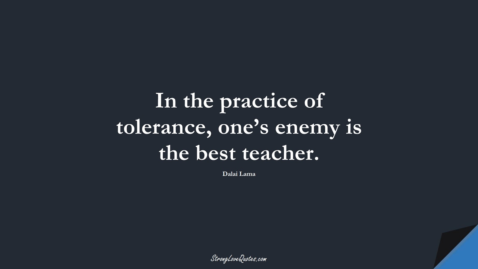 In the practice of tolerance, one's enemy is the best teacher. (Dalai Lama);  #LearningQuotes