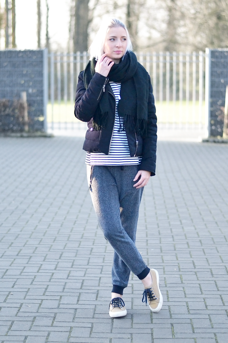 The kooples jacket, topshop scarf, acne canada inspired, Cos striped top, zara joggers, superga sneakers, outfit, belgian fashion blogger, belgische mode blogger
