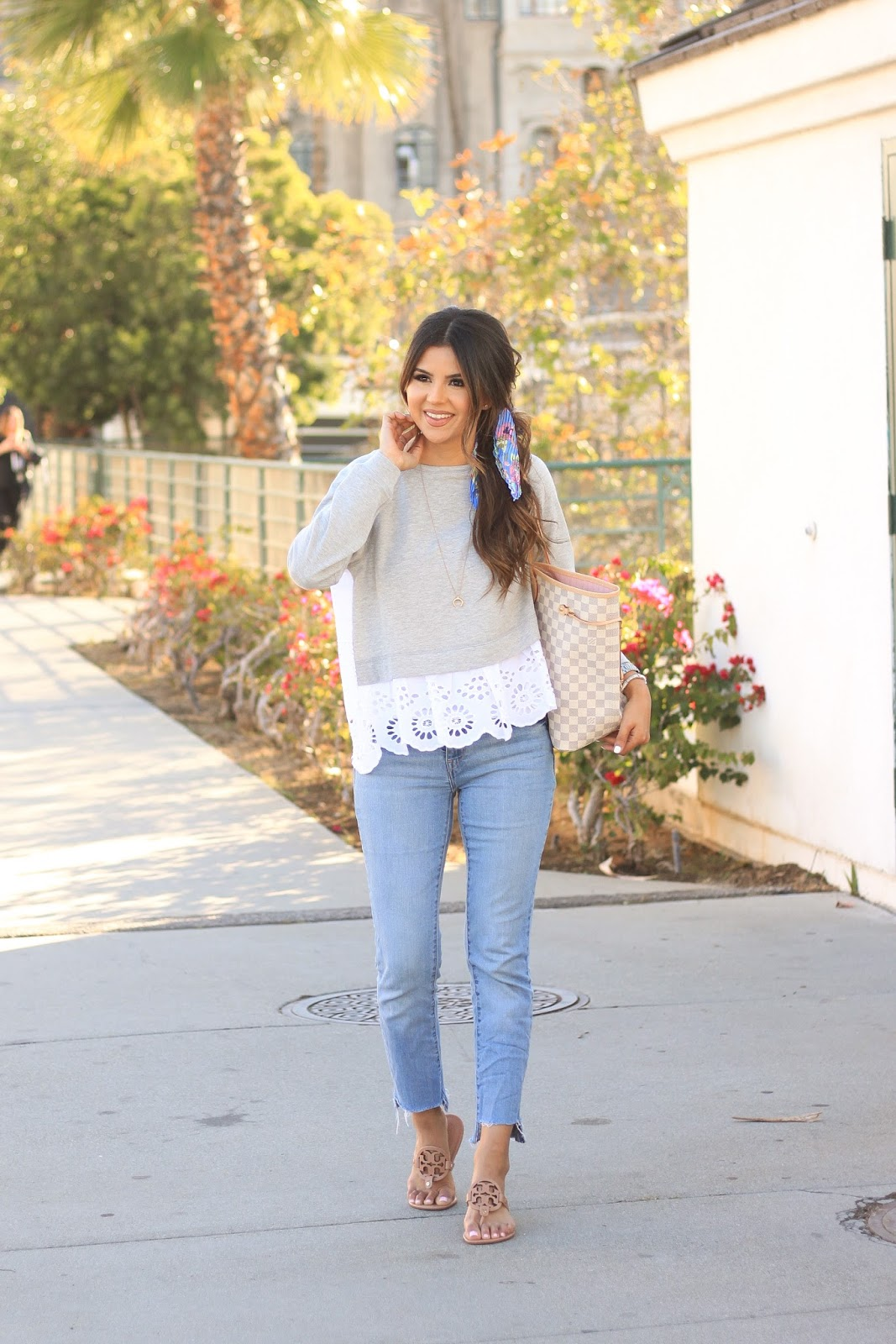 Cute Spring Style in Levis, Tory Burch Miller sandals and eyelet sweatshirt
